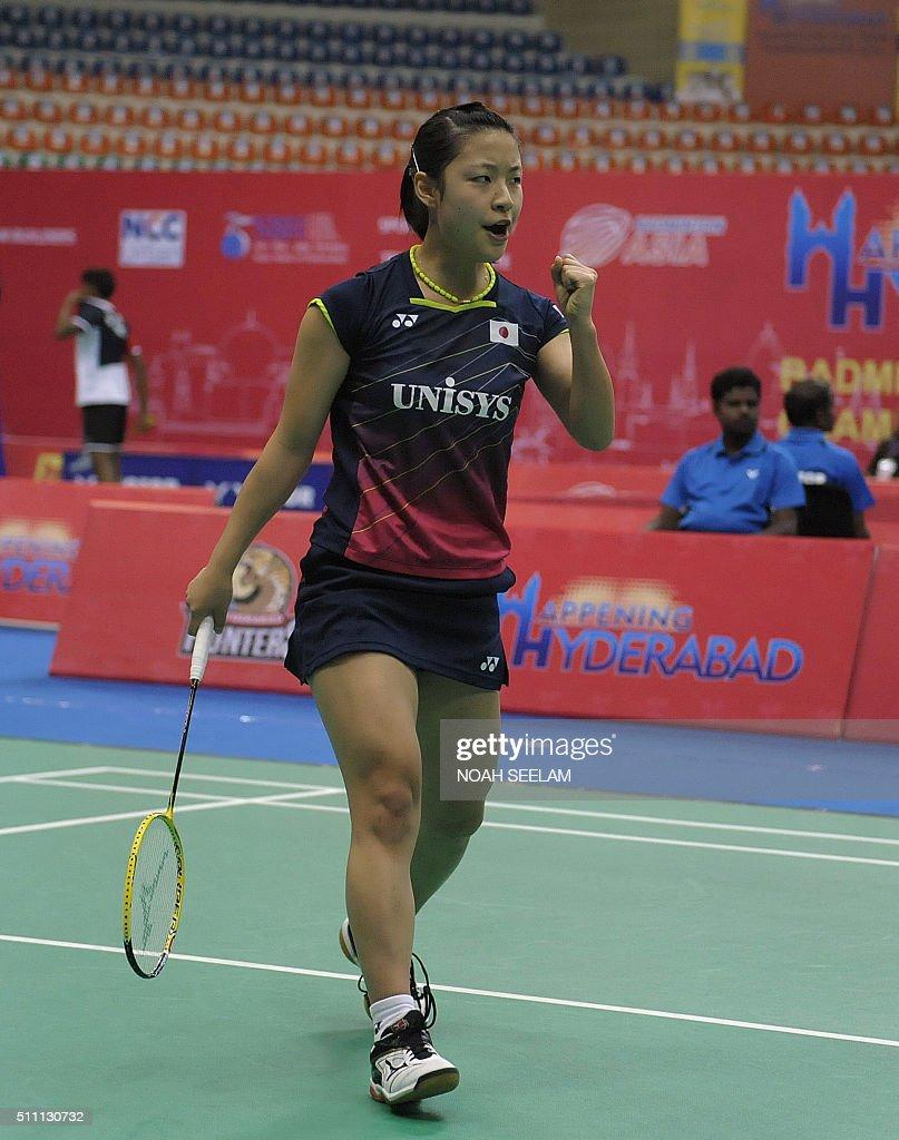 Nozomi Okuhara of Japan reacts after beating P V Sindhu of India