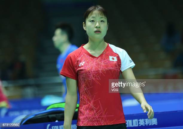 Nozomi Okuhara of Japan reacts during 2017 Badminton Asia Championships women's singles first round match against Lee Jangmi of South Korea at Wuhan...