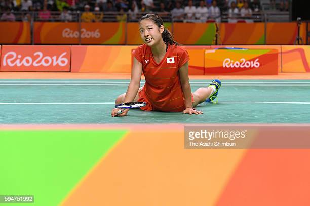 Nozomi Okuhara of Japan reacts during the Women's Badminton Singles Semifinal against Pusarla V Sindhu of India on Day 13 of the Rio 2016 Olympic...