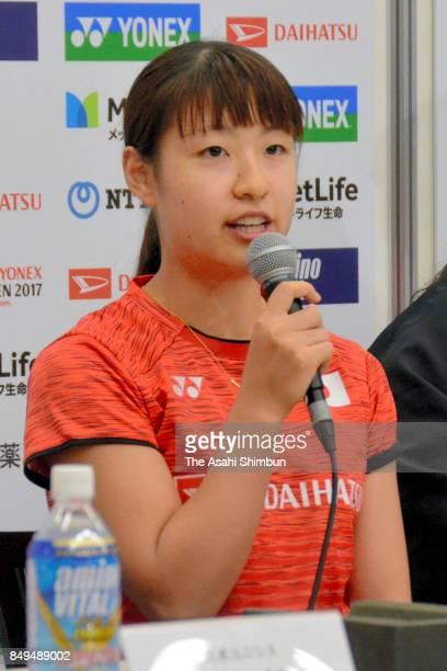 Nozomi Okuhara of Japan speaks during a press confernce ahead of the Daihatsu Yonex Japan Open at the Tokyo Metropolitan Gymnasium on September 19...