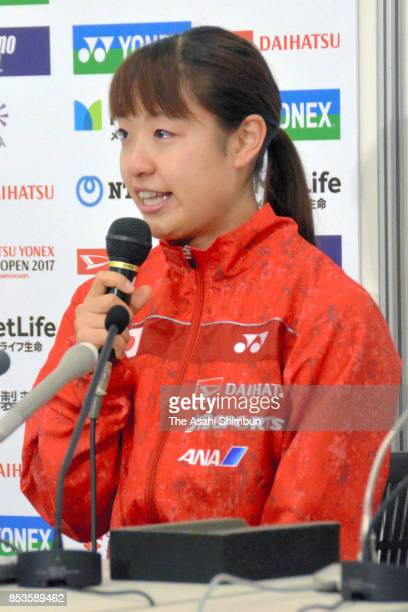 Nozomi Okuhara speaks during a press conference after her withdrawal during day five of the Daihatsu Yonex Japan Open at the Tokyo Metropolitan...