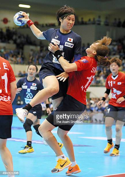 Nozumi Hara of Japan shoots at goal during the handball Asian Women's Qualification match between South Korea and Japan at Aichi Prefectural...