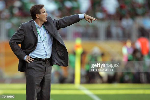 A file photo taken 11 June 2006 shows Croatian head coach of the Iranian team Branko Ivankovic gesturing in their first round Group D World Cup...