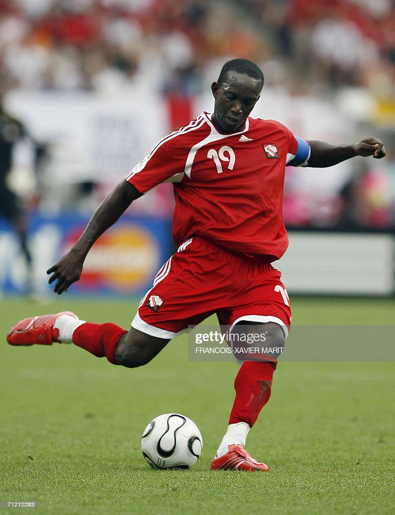 Trinidad and Tobago's forward Dwight Yorke is seen playing against England in their opening round Group B World Cup football match at Nuremberg's Franken Stadium, 15 June 2006. England won the match 2-0.