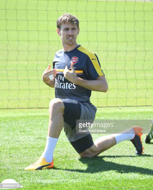 Nscho Monreal of Arsenal during a training session at London Colney on May 26 2017 in St Albans England