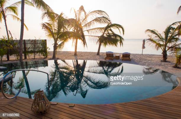 'nSwimming Pool at the Terrace Deck of a BeachVilla and Palm Trees at Lifestyle Resort Milaidhoo Island BaaAtoll on February 23 2017 in Male Maldives