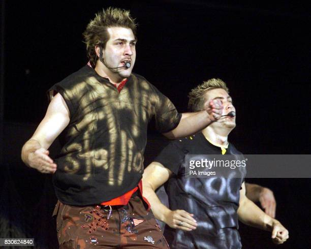 Nsync in concert at Giants Stadium in East Rutherford New Jersey Lance and Chris