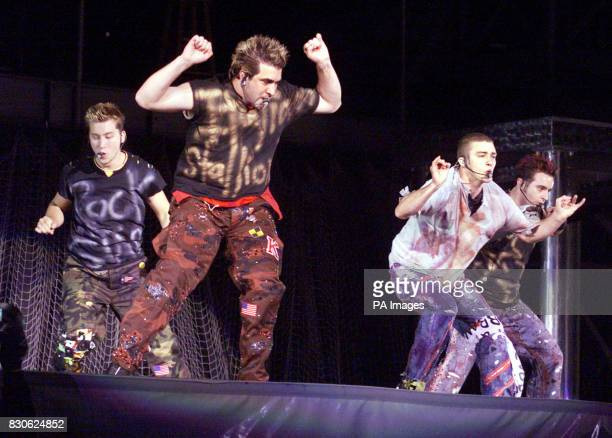 Nsync in concert at Giants Stadium in East Rutherford New Jersey L to R Lance Chris Justin and JC