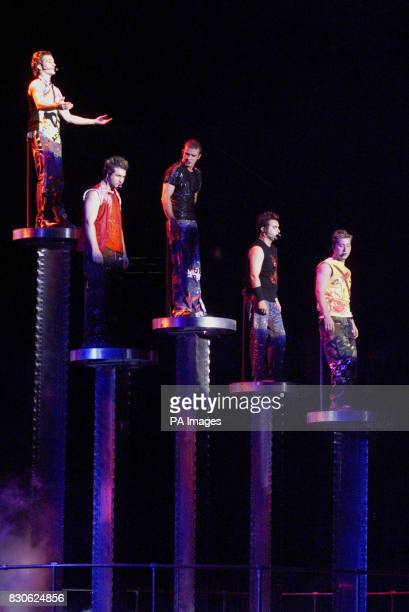 Nsync in concert at Giants Stadium in East Rutherford New Jersey L to R Joey Chris Justin JC Lance