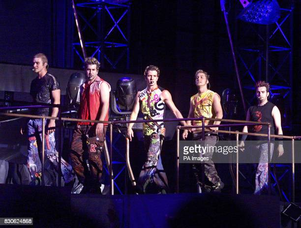 NSync on stage in the opening number of their concert at Giants Stadium in East Rutherford New Jersey L to R Justin Chris Joey Lance and JC