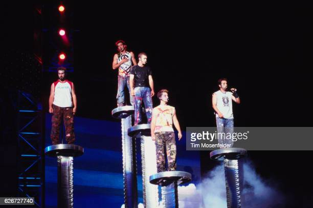 'NSync performs at the Network Associates Coliseum in Oakland From left are Joey Fatone JC Chasez Justin Timberlake Lance Bass and Chris Kirkpatrick