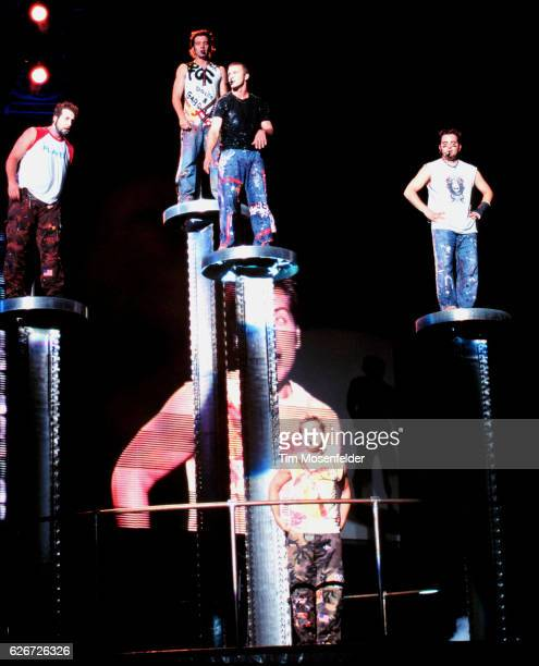 'NSync performs at the Network Associates Colusium in Oakland Top row from left are Joey Fatone JC Chasez Justin Timberlake and Chris Kirkpatrick...
