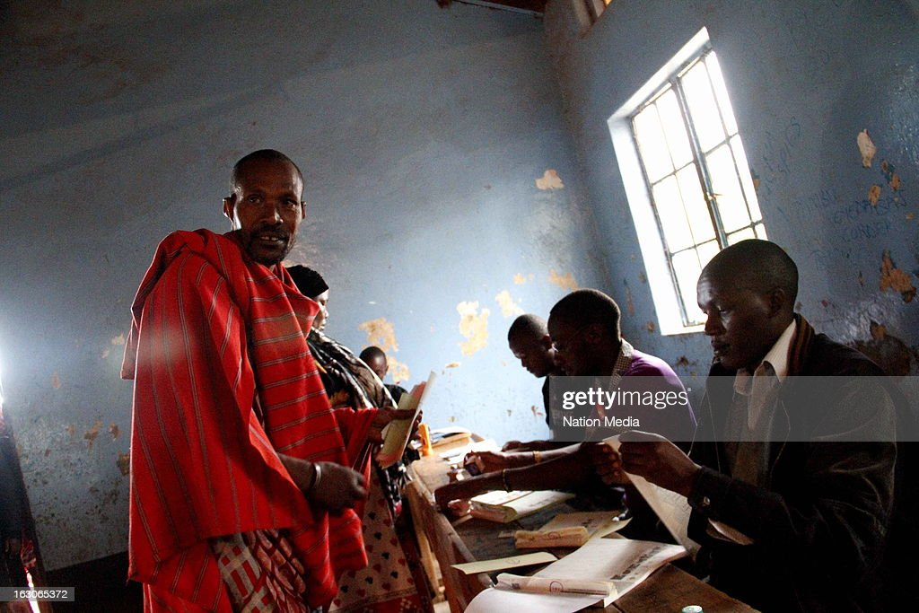 Ntoyian Ole Maika prepares to vote on March 4, 2013 in Kajiado County, Kenya. Kenya's last General elections resulted in mass violence across the country. Violence has been reported in 2013 elections in Mombasa with four policeman killed. This is the first General Election under the new constitution enacted in 2010.