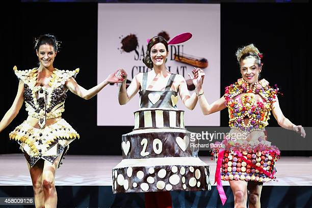 Nubia Esteban Sandra Lou and Victoria Monfort walk the runway during the Fashion Chocolate show at Salon du Chocolat at Parc des Expositions Porte de...