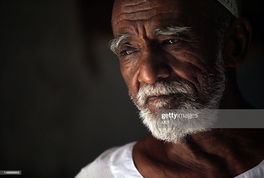 Nubian Bakri Gaffar, 75, a survivor of the displacement from the creation of the Aswan high dam, pauses as he remembers his village that was submerged in the 1960s, Wednesday, May 16, 2012, in the upper Egypt town of Abu Simbel, where he and his wife now live.