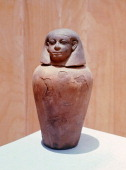 Nubian canopic jar Under Egyptian influence Nubian rulers adopted their burial customs Prior to embalming the body the viscera were removed and...
