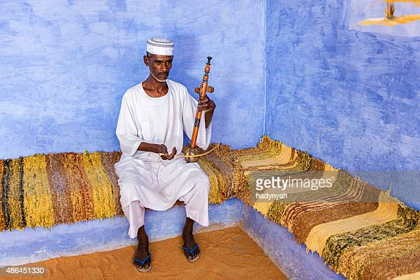 Nubian man playing a rebab in Southern Egypt