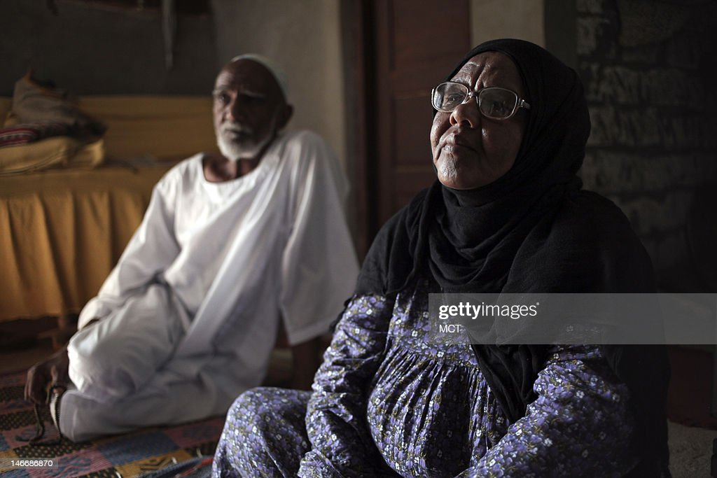 Nubians Bakri Gaffar, 75, and his wife Umm Mohamed, 62, survivors of the displacement from the creation of the Aswan high dam, talk about losing hope of ever seeing justice from the Egyptian government, Wednesday, May 16, 2012, in the upper Egypt town of Abu Simbel, where he and his wife now live.