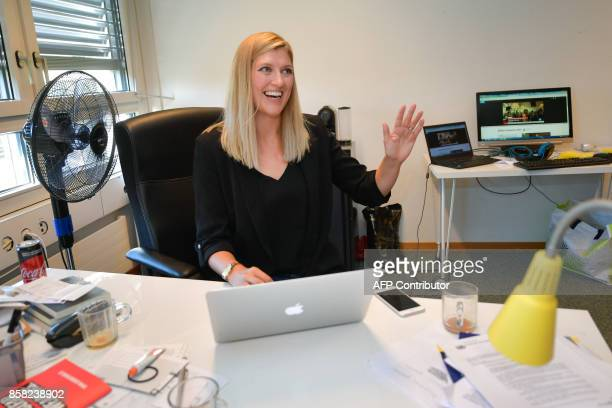 Nuclear disarmament group ICAN executive director Beatrice Fihn reacts at her office after ICAN won the Nobel Peace Prize for its decadelong campaign...