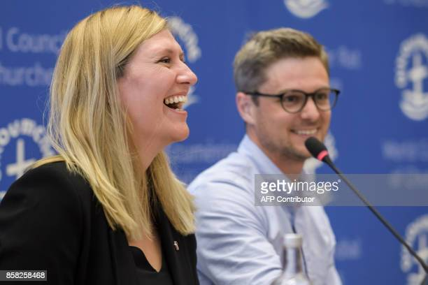 Nuclear disarmament group International Campaign to Abolish Nuclear Weapons executive director Beatrice Fihn rects next to coordinator Daniel Hogsta...