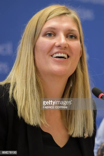Nuclear disarmament group International Campaign to Abolish Nuclear Weapons executive director Beatrice Fihn speaks during a press conference after...