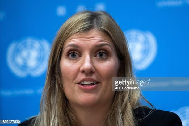 Nuclear disarmament group International Campaign to Abolish Nuclear Weapons executive director Beatrice Fihn answers a question during a press...