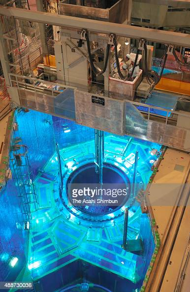 Nuclear fuel assemblies are transferred to the No 2 reactor of the Sendai nuclear power plant on September 12 2015 in Satsumasendai Kagoshima Japan...