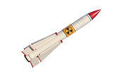 Nuclear missile isolated on white background. Horizontal composition with copy space and selective focus. Clipping path is included. Nuclear war concept.