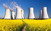 Panoramic view of Nuclear power plant Jaslovske, cooling tower, Bohunice with golden flowering field of rapeseed - Slovakia - two possibility for production of electric energy