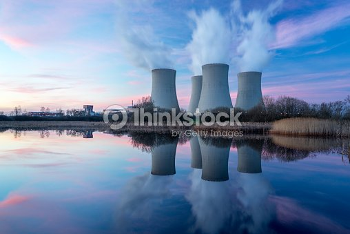 Nuclear power plant with dusk landscape. : Stock Photo
