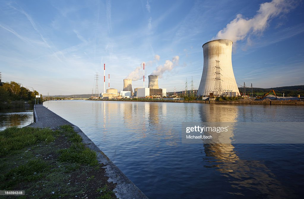 Nuclear Power Station At River : Stock Photo