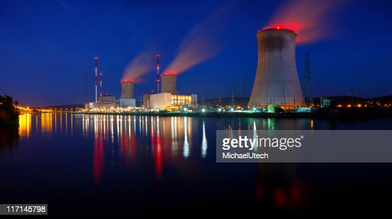 Nuclear Power Station Panorama At Night