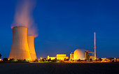 Nuclear Power Station With Night Blue Sky