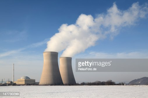 Nuclear power station with steaming cooling towers in winter (XXXL) : Stock Photo