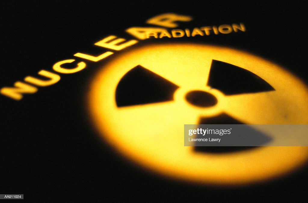 Nuclear Radiation Symbol and Text : Stock Photo