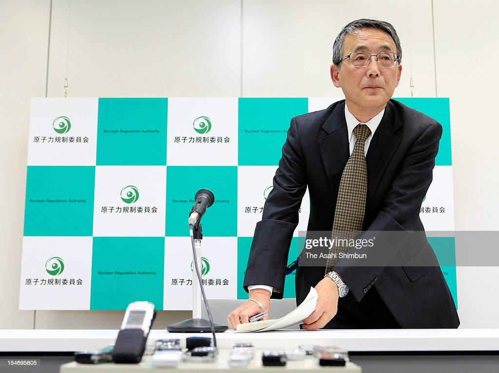 Nuclear Regulation Authority chairman Shunichi Tanaka attends a press conference on October 24, 2012 in Tokyo, Japan. A forecast of the radiation released in another nuclear accident shows that at four plants, a 30-kilometer evacuation zone would be insufficient for public safety, and that more distant residents would need to flee their homes too.