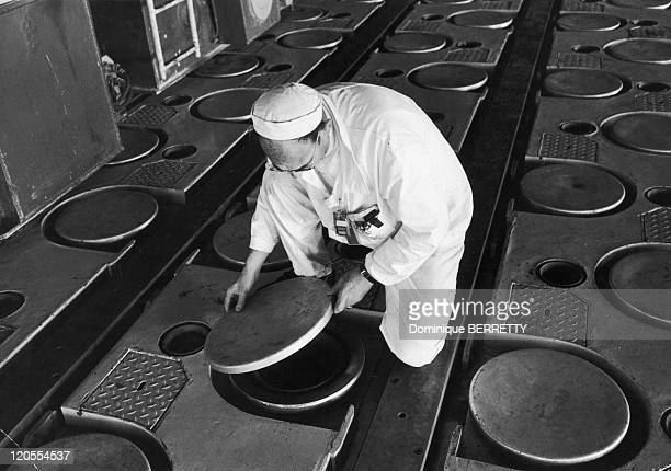 Nuclear Waters In Saint Laurent Des Eaux France Saint Laurent des Eaux atomic plant upper surface or reactor contains a field of manholelike...