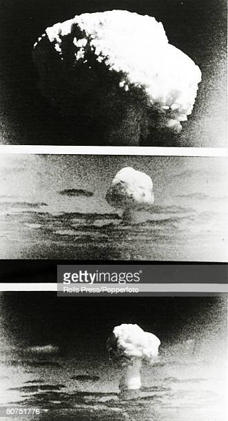 September 1968 Pictures from the detonation of the French Hbomb explosion at Mururoa French Polynesia showing the stages of development of the...