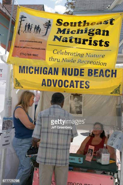 A nude beach advocates booth at Art Fairs