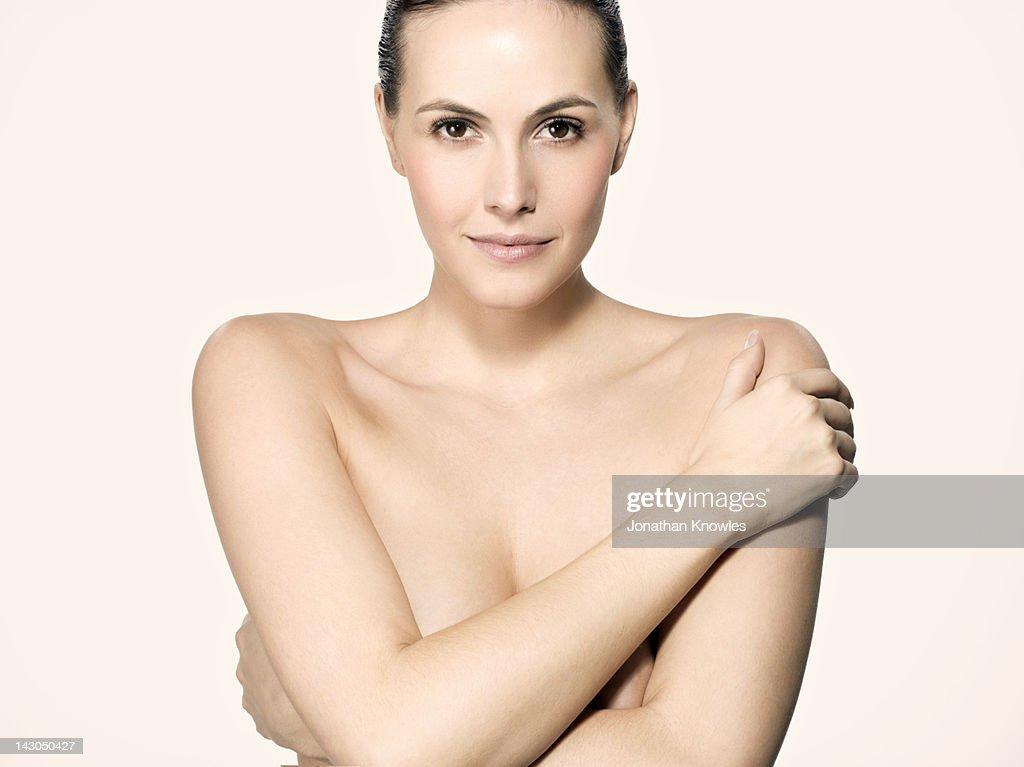 Nude beauty portrait, looking into camera : Stock Photo
