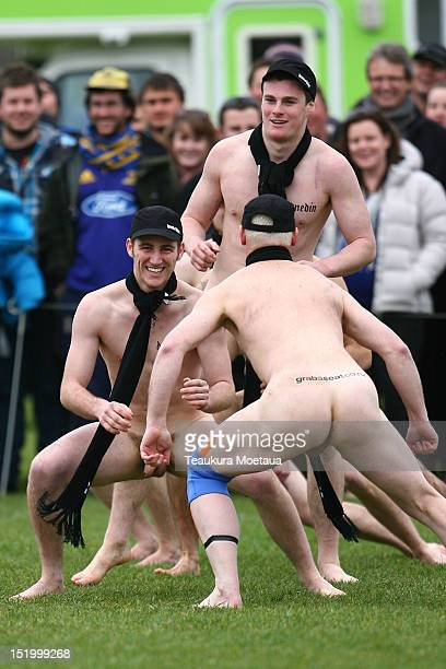 Nude Blacks warm up before the annual Nude rugby match between the New Zealand Nude Blacks and the South African Springbox at AlhambraUnion Rugby...