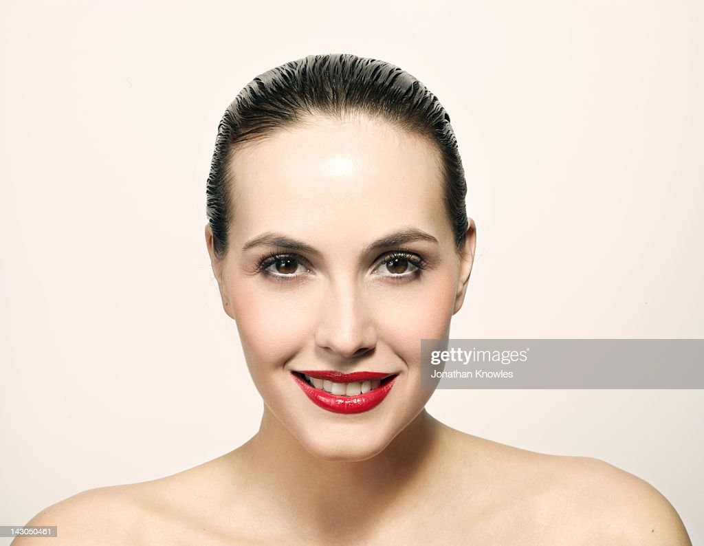 Nude female beauty portrait, smiling : Stock Photo