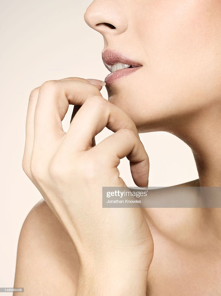 Nude female beauty, side view, close up : Stock Photo