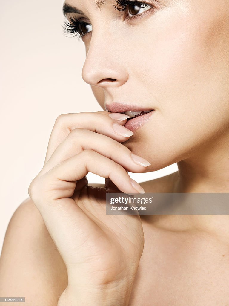 Nude female beauty, side view : Stock Photo