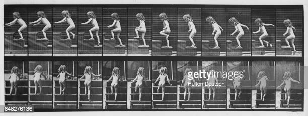 A nude girl climbs stairs in a series of photographs depicting motion