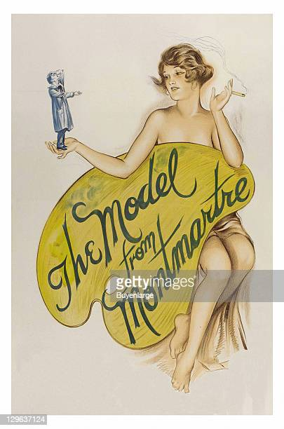 Nude Girl smokes a cigarette over an artist's pallet on a poster that advertises the movie 'The Model from Montmartre' 1926