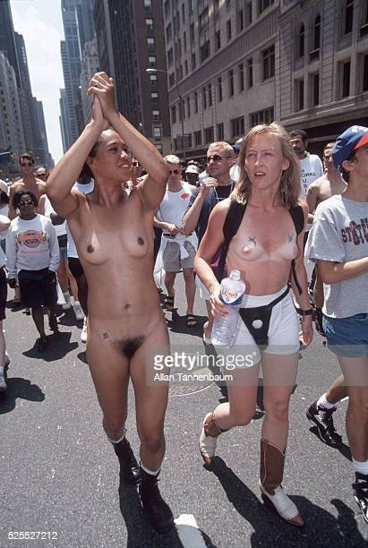 Nude Lesbians march up 6th Avenue in the 25th Annual Gay and Lesbian Parade New York New York June 26 1994