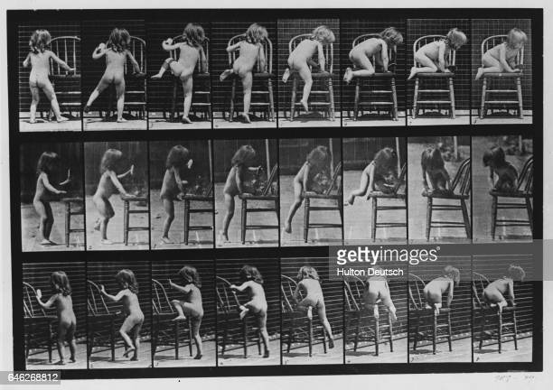 A nude little girl climbs up on a chair in a series of photographs depicting motion from a variety of angles