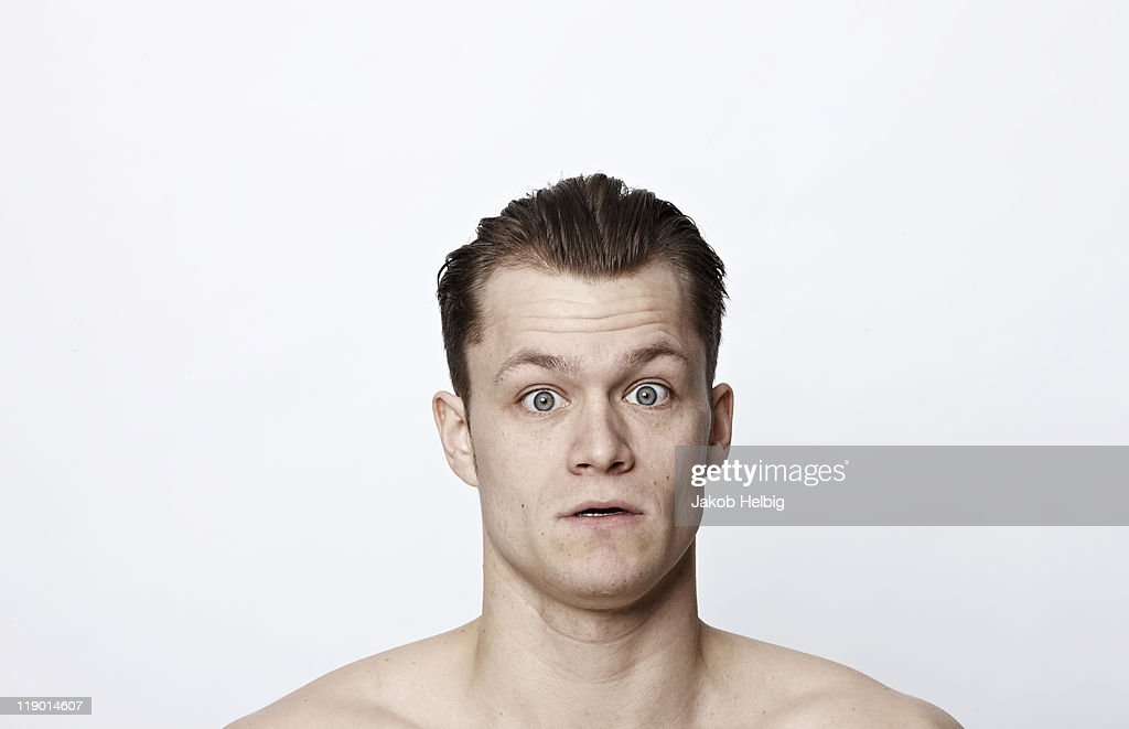 Nude man gasping : Stock Photo