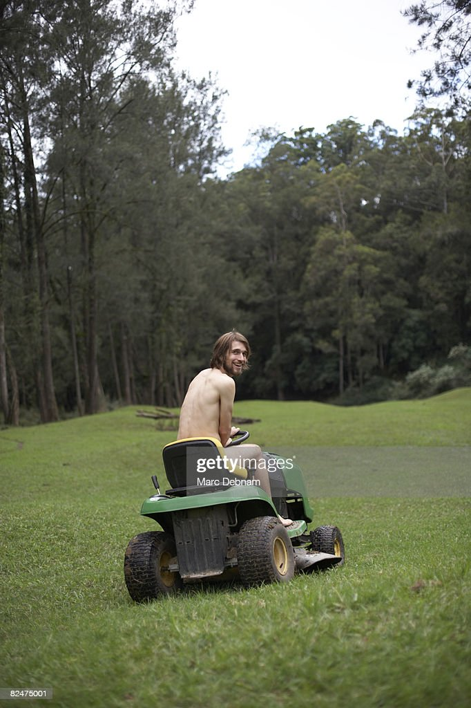 Apologise, naked woman on riding lawnmower